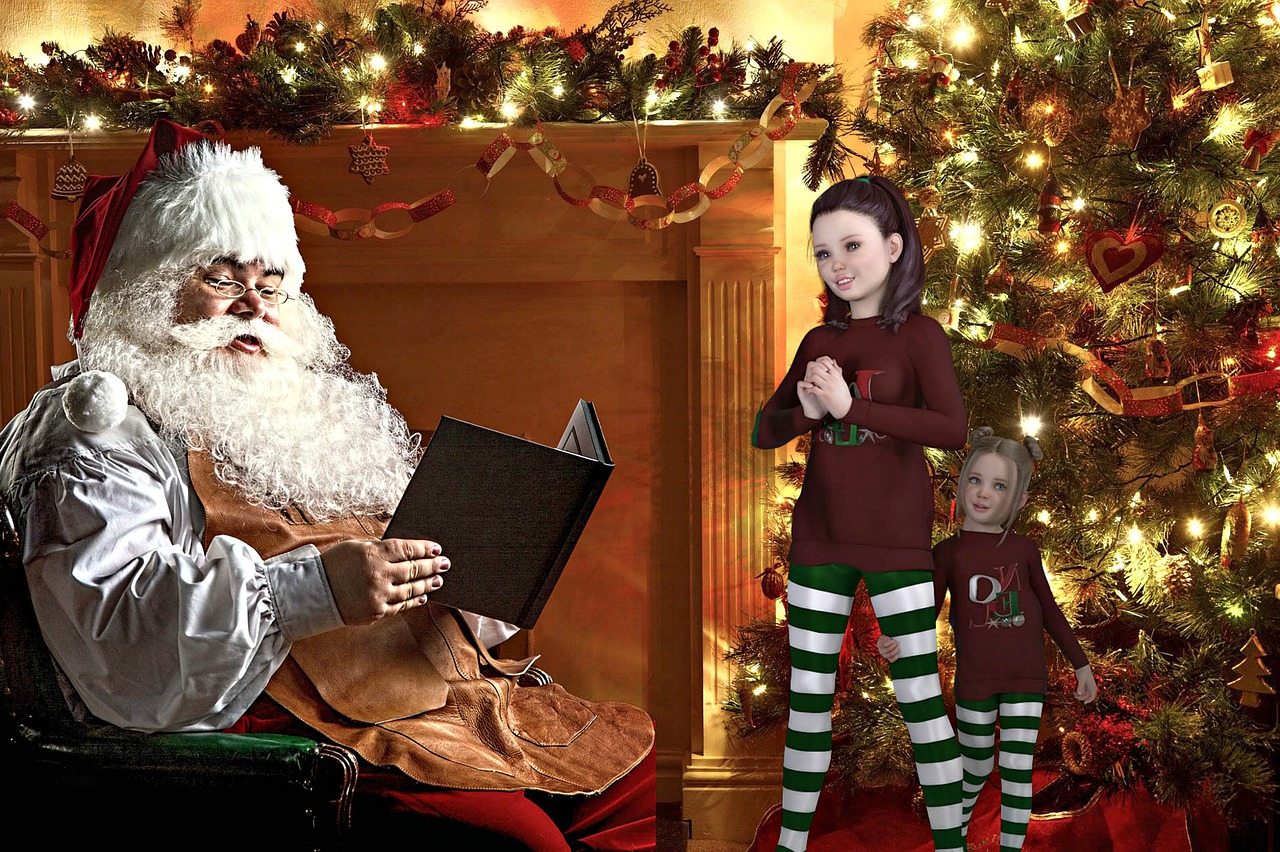 barbe blanche pere noel cadeaux enfants